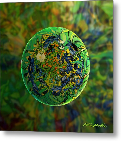 Globing Earth Irises Metal Print