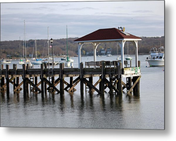 Gloomy Day Northport Dock Long Island New York Metal Print