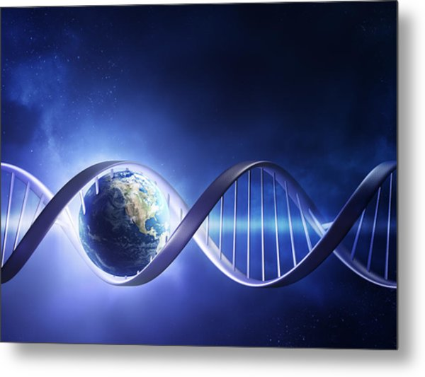 Glowing Earth Dna Strand Metal Print