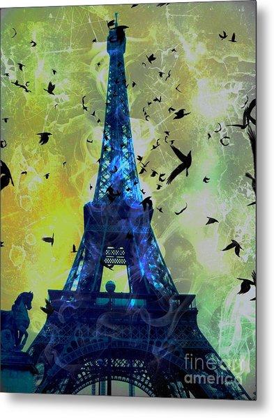 Glowing Eiffel Tower Metal Print