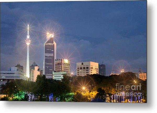 Glowing Lights Of Kuala Lumpur - Malaysia - South East Asia Metal Print