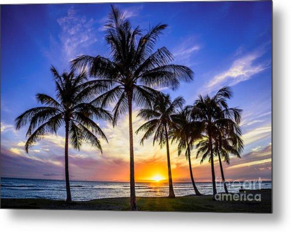 Glowing Orange Hawaiian Sunset Metal Print