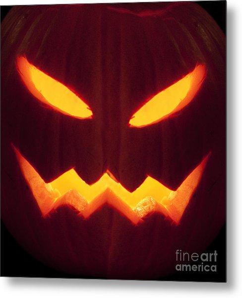 Glowing Pumpkin Metal Print