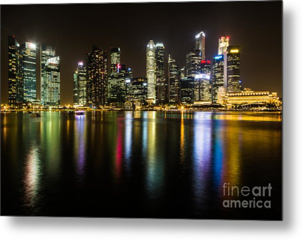 Glowing Singapore Metal Print