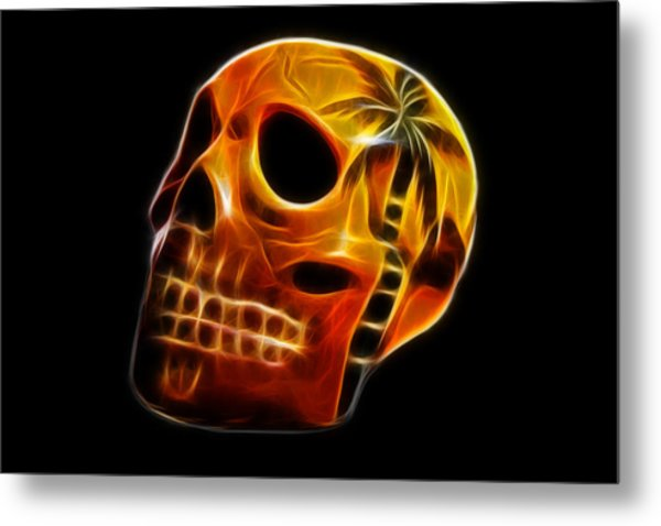 Glowing Skull Metal Print