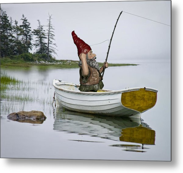 Gnome Fisherman In A White Maine Boat On A Foggy Morning Metal Print