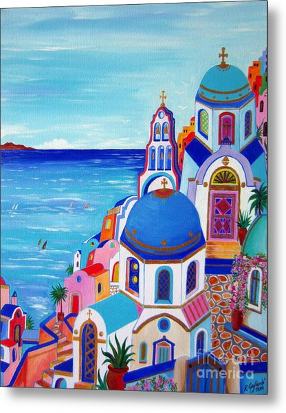 go to Santorini now Metal Print