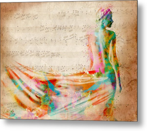 Metal Print featuring the digital art Goddess Of Music by Nikki Smith