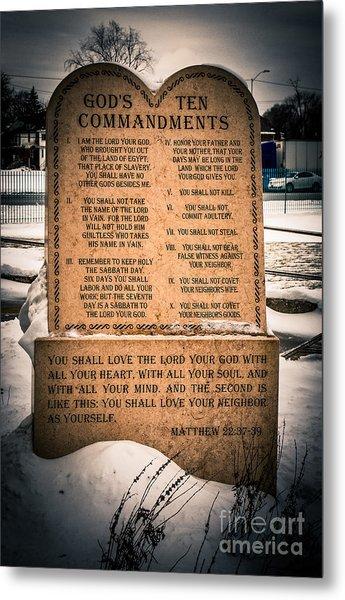 God's Ten Commandments Metal Print