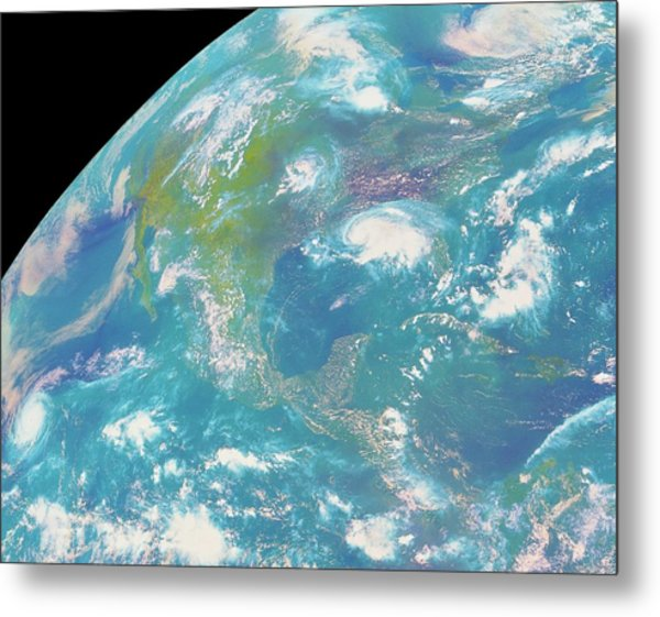 Goes Image Of North & Central America Metal Print by Nasa/science Photo Library