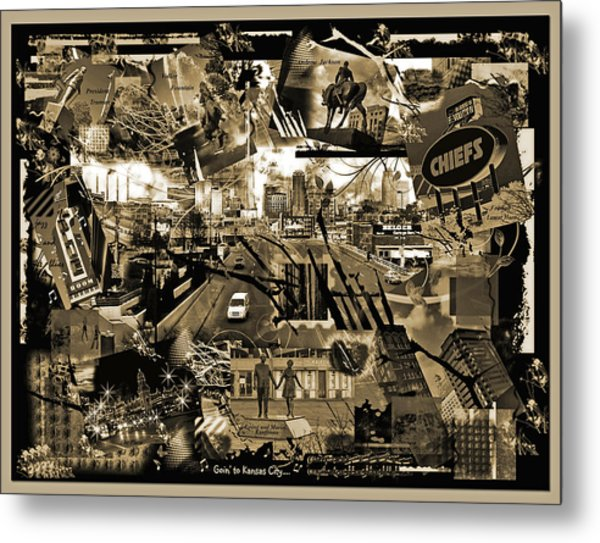 Goin' To Kansas City - Grunge Collage Metal Print