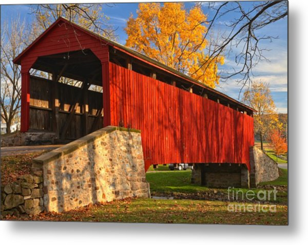 Gold Above The Poole Forge Covered Bridge Metal Print