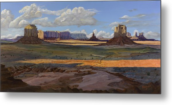 Gold Across The Valley Monument Valley Metal Print