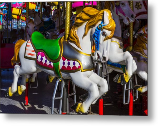 Gold And White Carrousel Hourse Metal Print