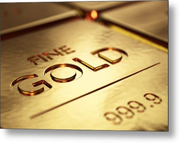 Gold Bars Close-up Metal Print