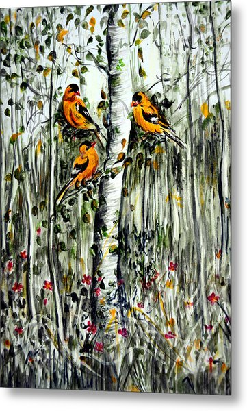 Gold Finches Metal Print