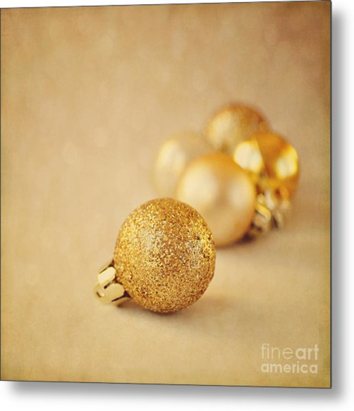 Gold Glittery Christmas Baubles Metal Print