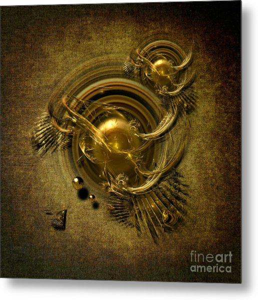Gold Birds Metal Print