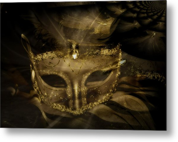 Gold In The Mask Metal Print