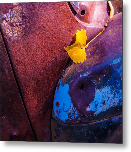 Gold Leaf And Patina Color Metal Print