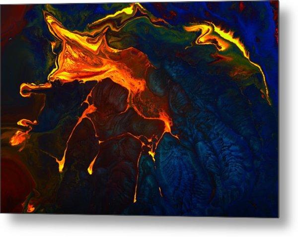 Gold Signature - Gold Orange Abstract Art By Kredart Metal Print