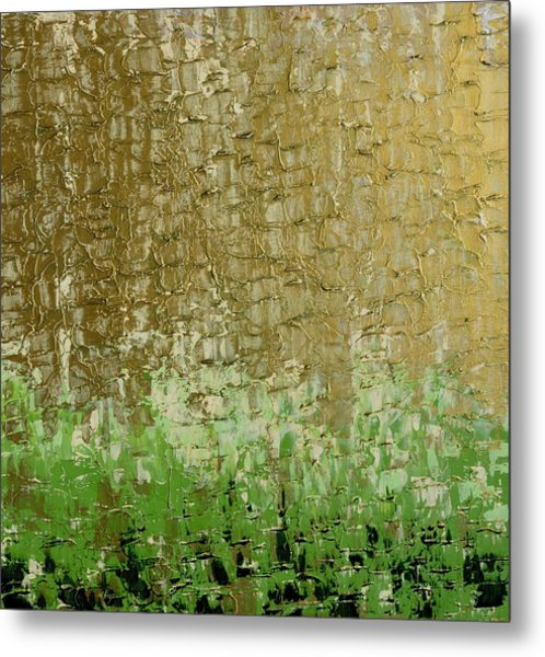 Gold Sky Green Grass Metal Print