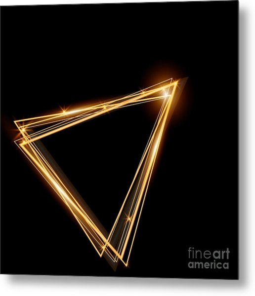 Gold Triangle Glowing Frame. Abstract Metal Print