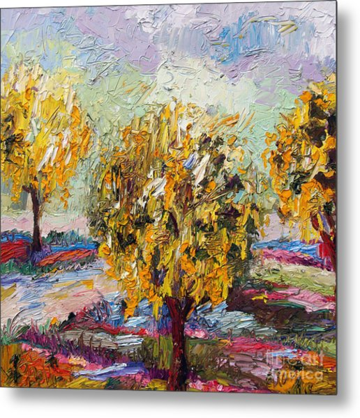 Impressionist Oil Gold Chain Trees  Metal Print