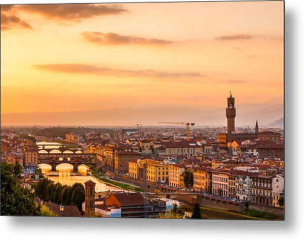Golden Arno River Metal Print
