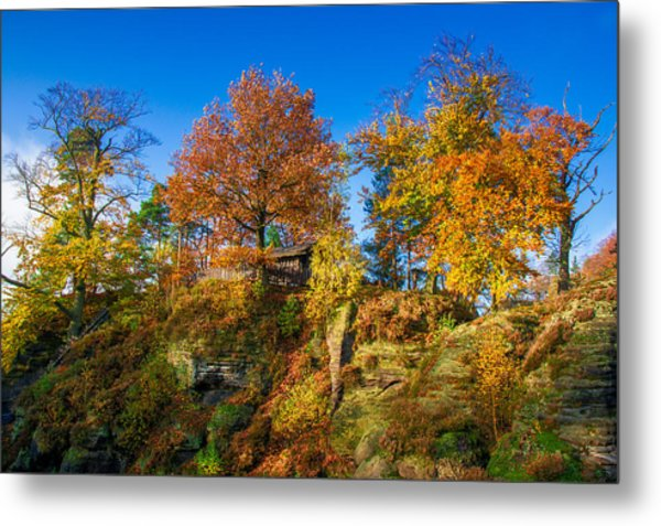 Golden Autumn On Neurathen Castle Metal Print