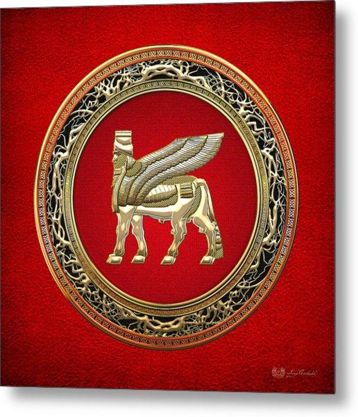 Golden Babylonian Winged Bull  Metal Print