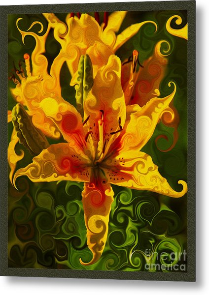 Metal Print featuring the painting Golden Beauties by Omaste Witkowski