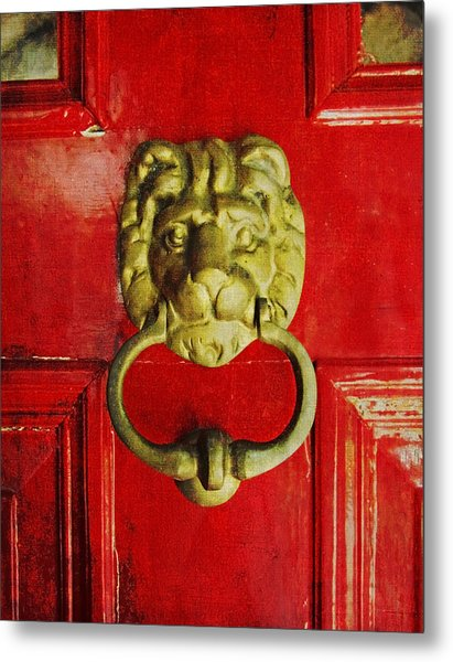 Golden Brass Lion On Red Door Metal Print
