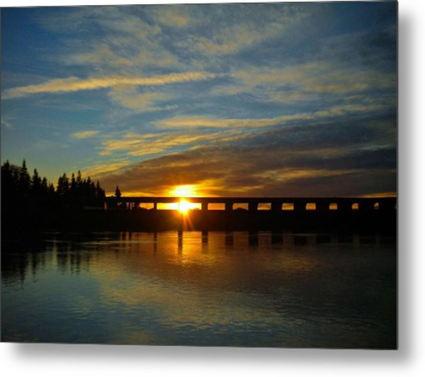 Golden Bronze Sunset Metal Print