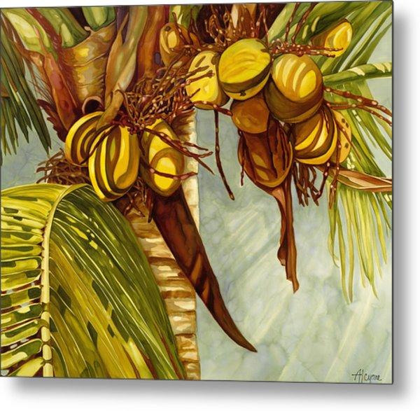 Golden Coconuts Metal Print