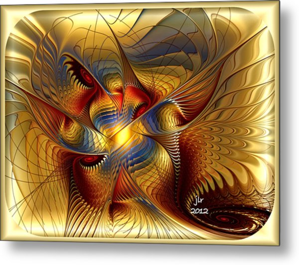 Golden Dancing Dragon Metal Print by Janet Russell