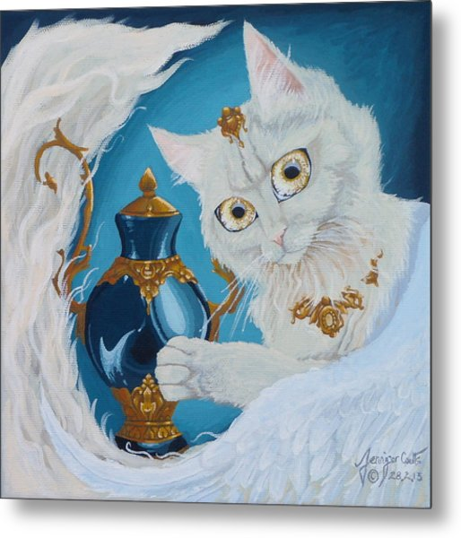 Golden Eyed Angel Bast Cat  Metal Print by Jennifer  Anne Esposito