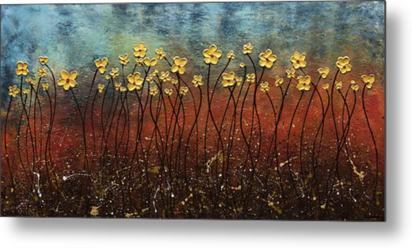 Golden Flowers Metal Print