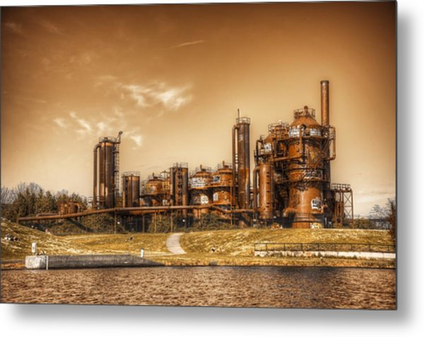 Golden Gas Works Metal Print