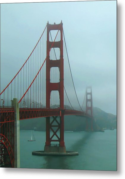 Golden Gate Bridge And Partial Arch In Color  Metal Print