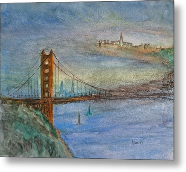 Golden Gate Bridge And Sailing Metal Print by Anais DelaVega