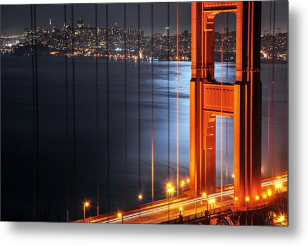 Golden Gate Bridge And Supermoon Metal Print