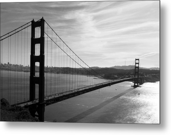 Golden Gate Bridge In Black And White Metal Print