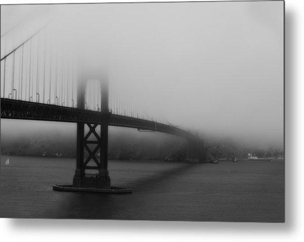 Golden Gate Bridge In Fog Metal Print