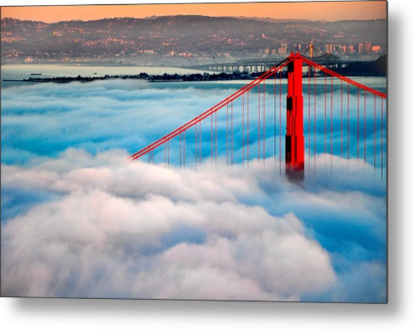 Golden Gate Bridge In Fog Metal Print