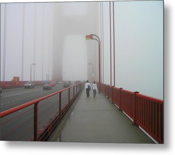 G. G. Bridge Walking Metal Print