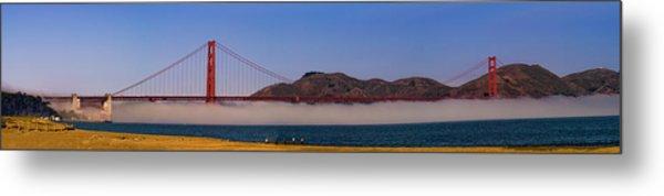 Golden Gate Bridge Over Fog Panorama Metal Print