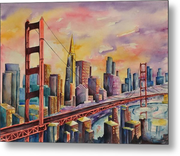 Golden Gate Bridge - San Francisco Metal Print by Joy Skinner