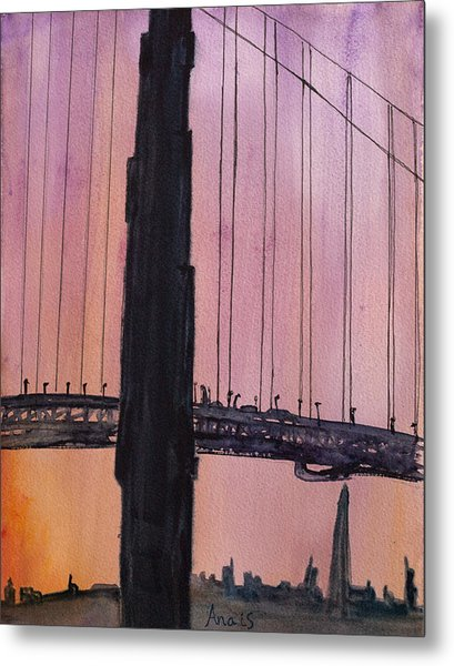 Golden Gate Bridge Tower Metal Print by Anais DelaVega