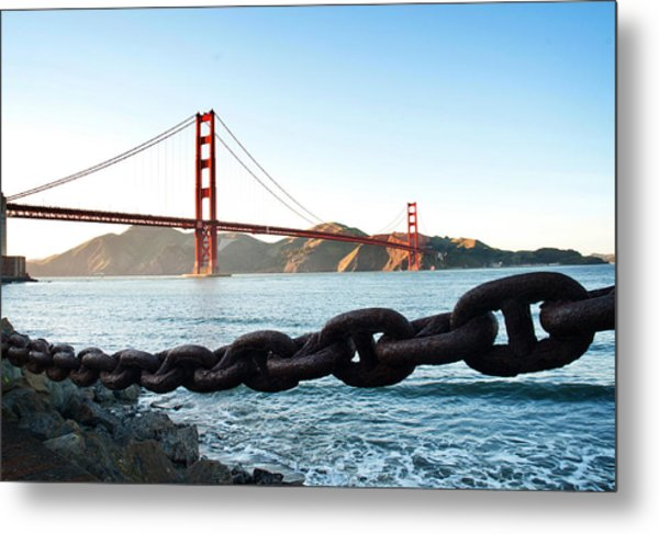 Golden Gate Bridge With Chain Metal Print